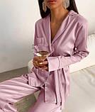 Пижама женская брючная шёлковая стильная синий, пудра, чёрный, бежевый 42-44,46-48,50-52, фото 4