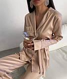 Пижама женская брючная шёлковая стильная синий, пудра, чёрный, бежевый 42-44,46-48,50-52, фото 7