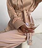 Пижама женская брючная шёлковая стильная синий, пудра, чёрный, бежевый 42-44,46-48,50-52, фото 5