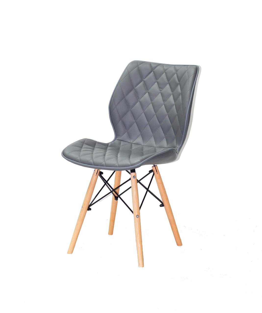 Обеденный стул на деревянных ножках из эко кожи серого цвета Nolan
