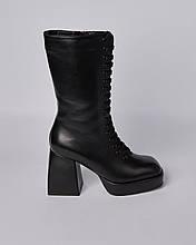 Ботинки кожаные женские черные на шнурке и каблуке. Турция