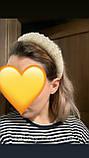 Великий об'єднання з'ємний обруч з перламутровими перлинами та кремовою бархатною основою, фото 10