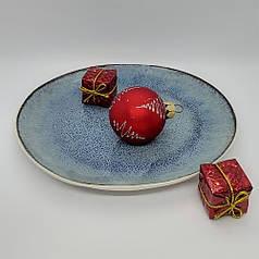 Тарілка синя керамічна кругла професійний посуд для кафе ресторанів і вдома 27х7 см