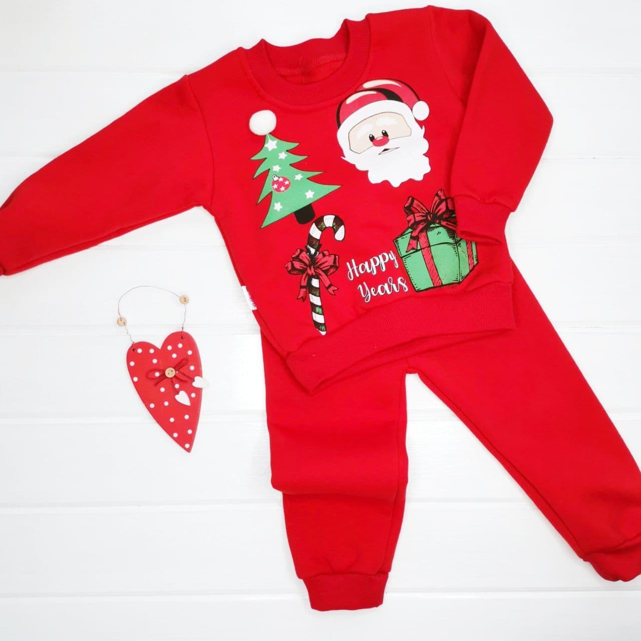 """Новогодний костюм хлопковый (на флисовом начёсе) """"Санта с подарками"""" на 12, 18 мес"""