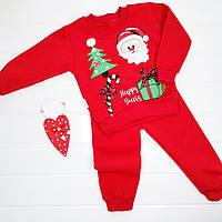 """Новогодний костюм хлопковый (на флисовом начёсе) """"Санта с подарками"""" на 12, 18 мес, фото 1"""