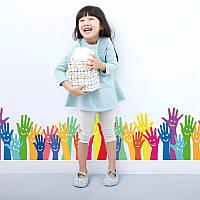 """Виниловые наклейки на стену, шкаф в детскую, в школу, в детсад """"Разноцветные ручки"""" 126см*28см (лист50*70см)"""