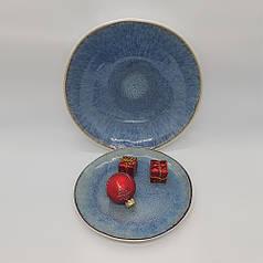 Синя керамічна тарілка кругла професійний посуд для кафе ресторанів і вдома 20,5х2,5 см