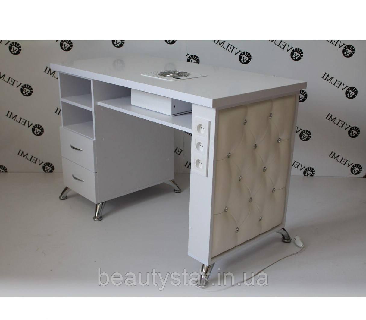 Маникюрный стол функциональный для мастера маникюра VM139 Стол Nail однотумбовый без вытяжки для маникюра