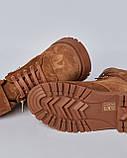 Ботинки замшевые женские коричневые на шнурках и липучке. Турция, фото 4