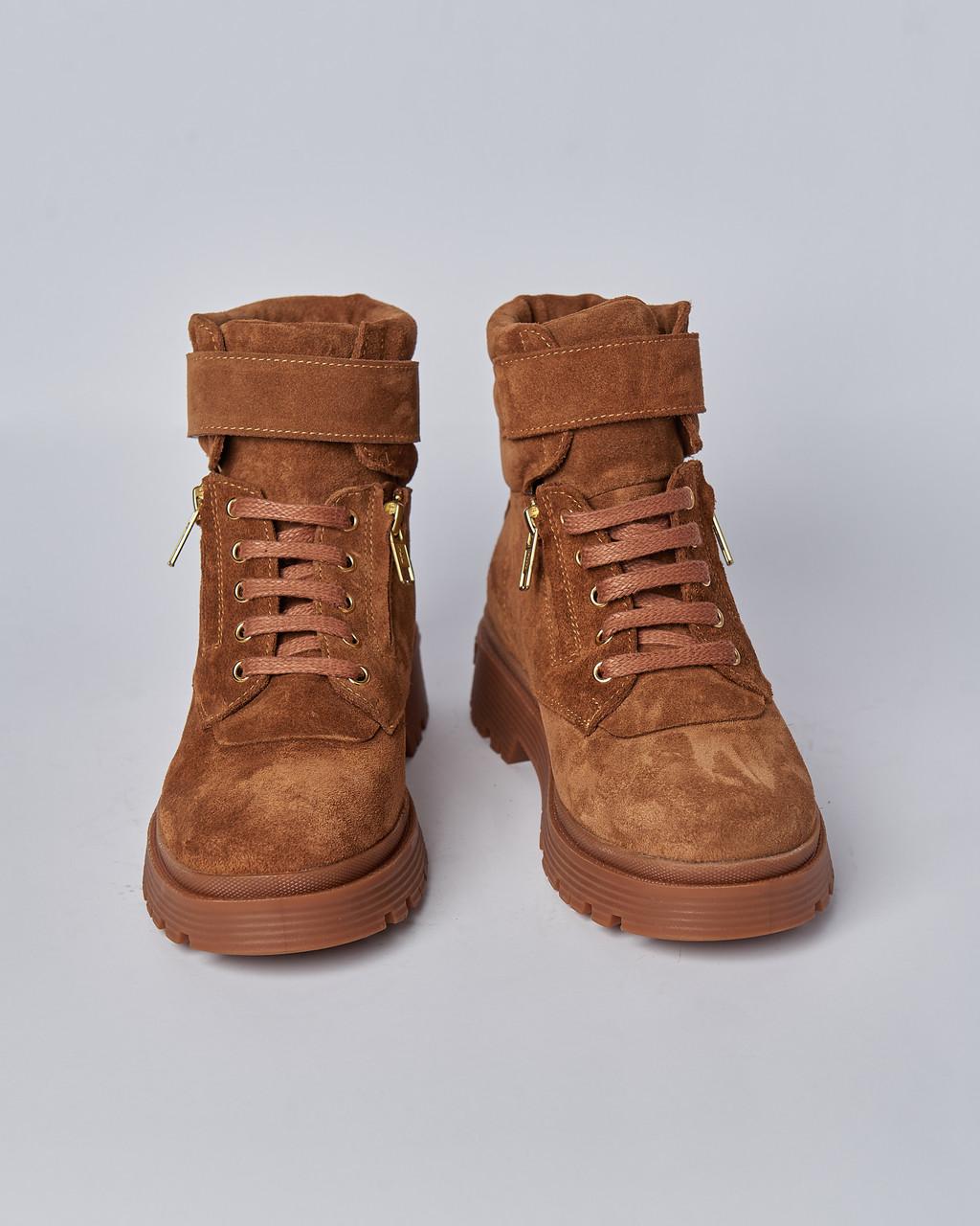Ботинки замшевые женские коричневые на шнурках и липучке. Турция
