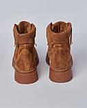 Ботинки замшевые женские коричневые на шнурках и липучке. Турция, фото 3