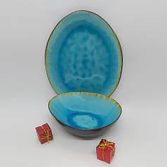 Керамічна блакитна тарілка кругла професійний посуд для кафе ресторанів і вдома 27 см
