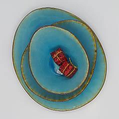Блакитний салатник професійний посуд для кафе ресторанів і вдома 21х17х5,5 см