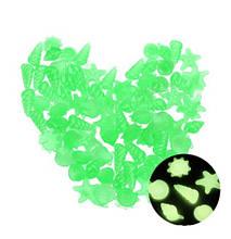 Люмінесцентні зелені камені в акваріум разнофигурные - у наборі 10шт., розмір одного каменю 2-3см