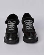 Ботинки кожаные женские черные на шнурке и массивной подошве. Турция
