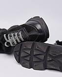 Ботинки кожаные женские черные на шнурке и массивной подошве. Турция, фото 4