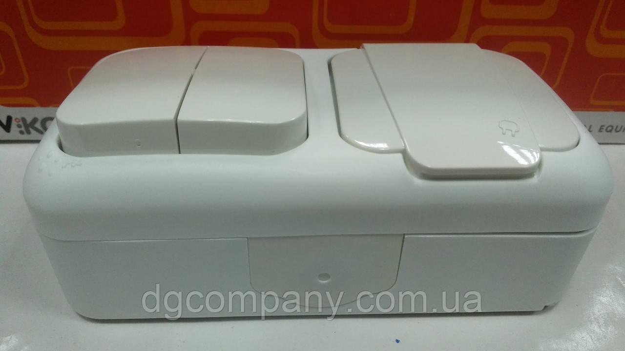 Выключатель 2х клавишный+розетка с заземлением влагозащищенный  Viko Palmiye белый,90559082