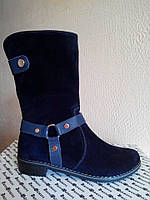 Ботинки зимние Б-204 синие натуральные замш/кожа