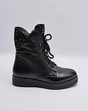 Ботинки кожаные женские черные на шнурках и массивной подошве. Турция