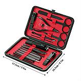 Профессиональный маникюрный - педикюрный набор DIOF 18 инструментов красный, фото 6
