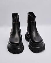 Ботинки кожаные женские черные на молнии. Турция