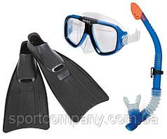 Набор для плавания Intex 55957 маска 54 см  + трубка + ласты под стопу ≈ 24 см