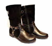 Ботинки зимние Б-204 черные натуральные замш/кожа
