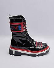 Ботинки кожаные лакированные женские черные на шнурках. Турция