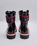 Ботинки кожаные лакированные женские черные на шнурках. Турция, фото 3