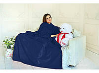 Плед с рукавами двухслойный флис Premium Тёмно-синий HMD 100-9722114, КОД: 1558790