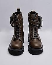 Ботинки кожаные женские коричневые на шнурках и ремешке. Турция