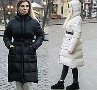 Р 42-48 Зимний пуховик-пальто с капюшоном 23222