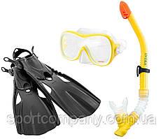 Набор для плавания Intex 55658 маска 54 см  + трубка + ласты под стопу ≈ 24 см