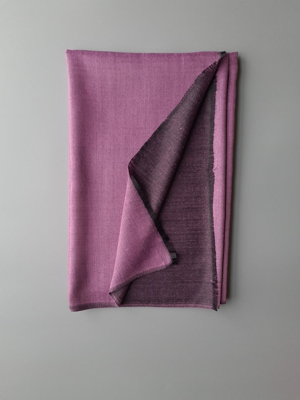 Двухсторонний шарф из шерсти и шелка светло фиолетовый