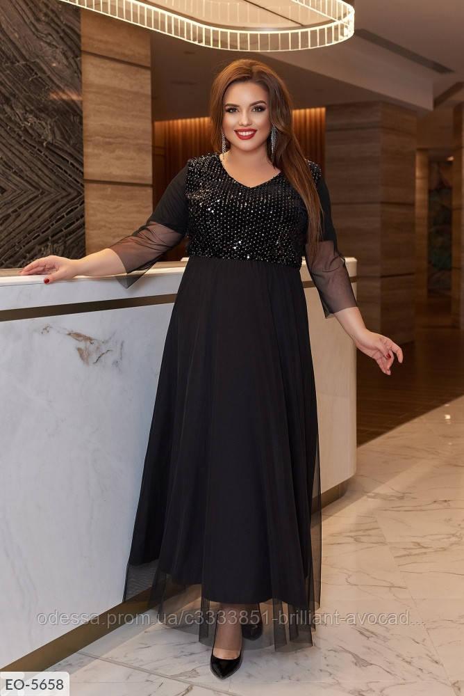 Женское красивое вечернее длинное платье с пайетками в большом размере