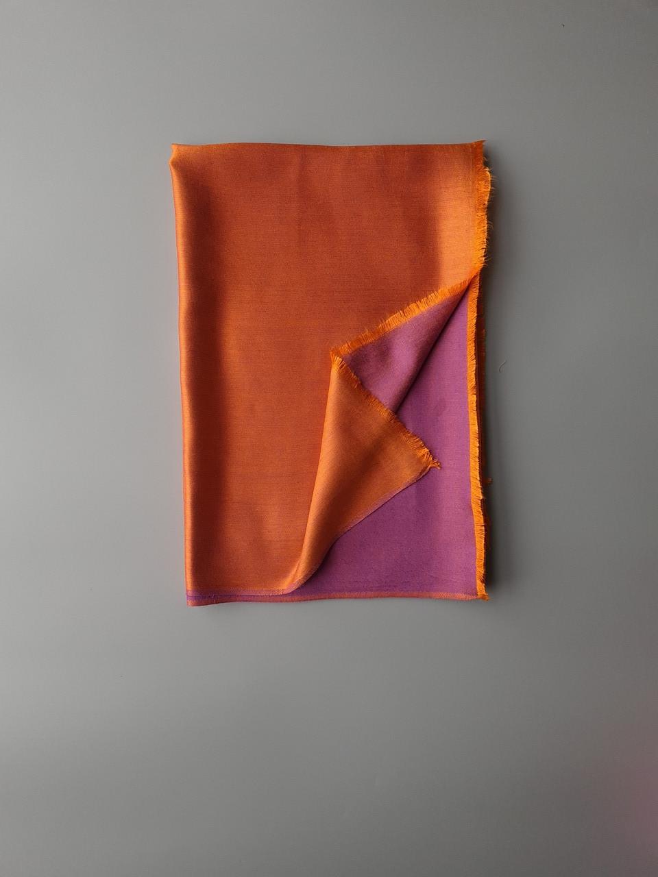 Двухсторонний шарф из шерсти и шелка малиново/оранжевый