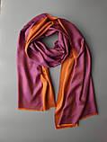 Двухсторонний шарф из шерсти и шелка малиново/оранжевый, фото 3