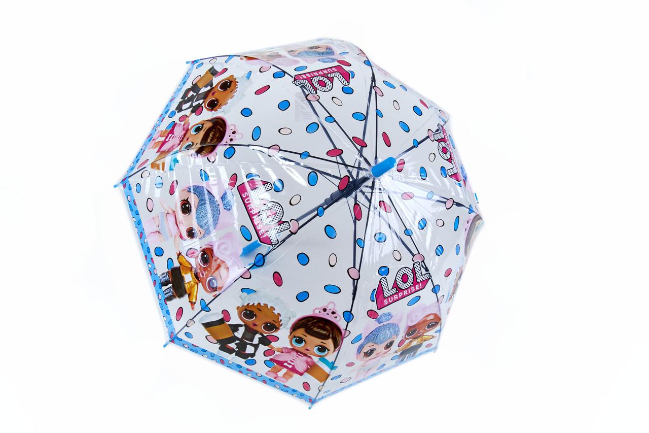 Дитячий парасольку тростину напівавтомат для дівчинки полівініл/карбон блакитний (в чотирьох кольорах). Арт.269 Fiaba (Китай)