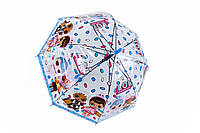Дитячий парасольку тростину напівавтомат для дівчинки полівініл/карбон блакитний (в чотирьох кольорах). Арт.269 Fiaba (Китай), фото 1