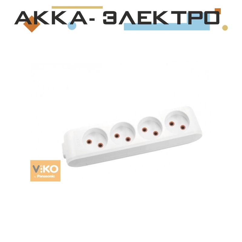 Колодка удлинителя без заземления на 4 гнезда Viko 90112400