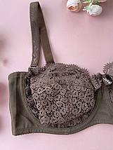 85D Коричневый гипюровый бюстгальтер Анжелика без поролона, лифчик на косточках со съемными бретелями, фото 2