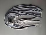 Двухсторонний шарф из шерсти и шелка светло серый, фото 4