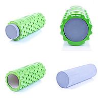 Массажный ролик для йоги и фитнеса Spokey TEEL 2-в-1 33.5 см Зелено-серый