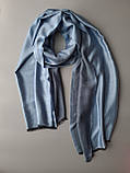 Двухсторонний шарф из шерсти и шелка серо/голубой, фото 3
