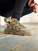 Мужские кроссовки в стиле Adidas Ozweego, кожа, неопрен, хаки 41(26 см), размеры:41,42,43,44,45