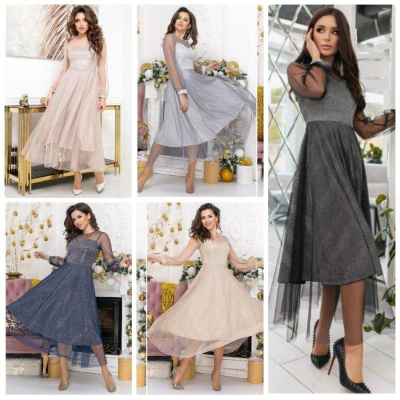 Воздушное женское платье диско с красивой евро сеткой юбка солнце клеш 5 цветов