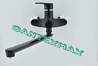 Смеситель из термопластика для ванны с длинным гусаком Plamix Oscar 006 Black