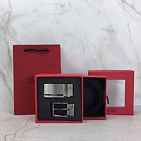 Ремінь чоловічий чорний модний стильний подарунковий Кельвін Кляйн з двома пряжками, фото 1