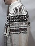 Мужской теплый шерстяной свитер со снежинками на молнии Турция Молочный, фото 2