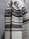 Мужской теплый шерстяной свитер со снежинками на молнии Турция Молочный, фото 5